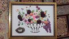 buy-sell handmade decorative-flowers تابلو سبد گل روبان دوزی شده