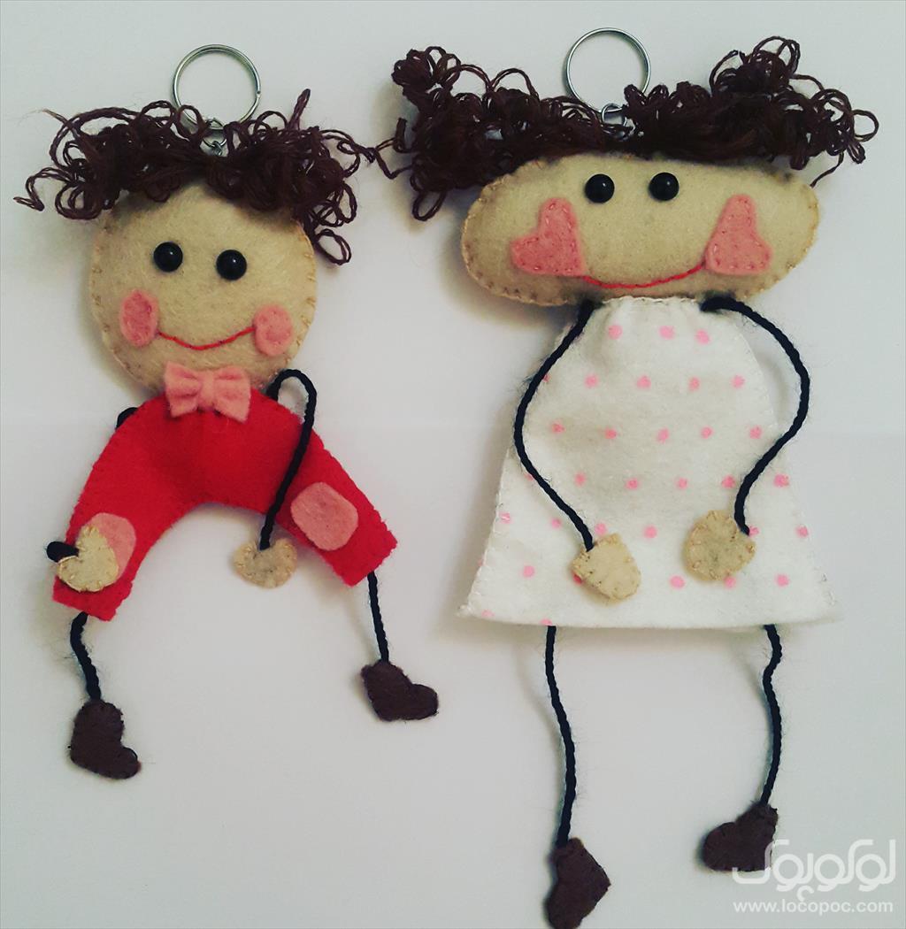یک جفت عروسک دست ساز نمدی بسیار شیک و فانتزی. buy-sell handmade home-decoration