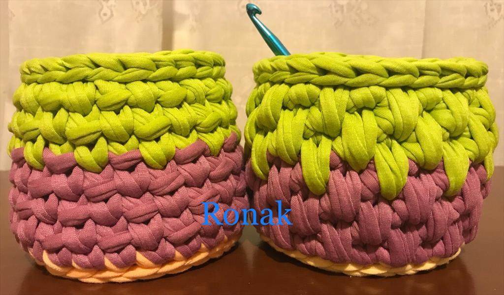 سبدهای تریکو روناک در اندازه ها و مدل ها و رنگ های گوناگون با قیمت های متفاوت buy-sell handmade wearable-knitting
