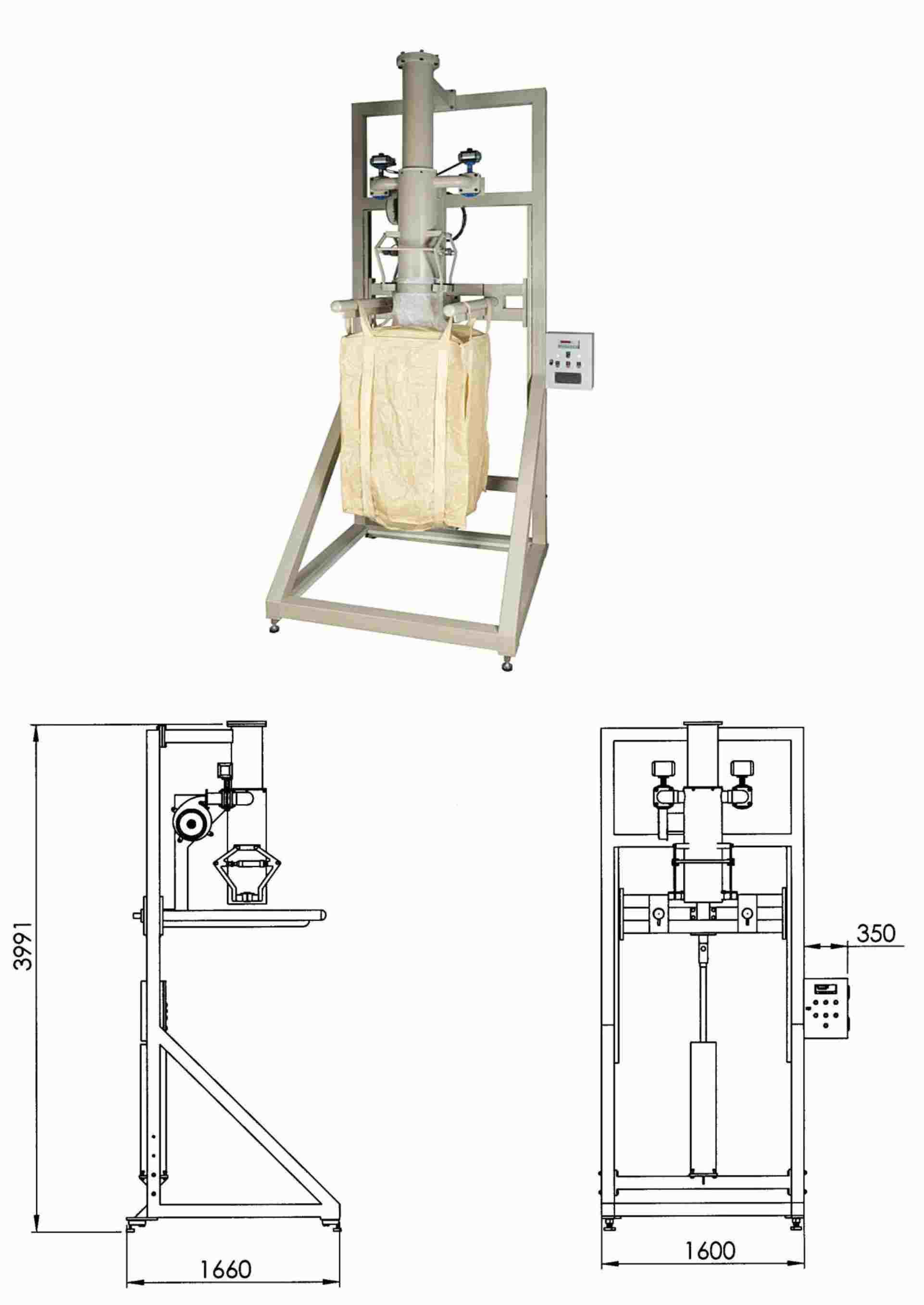 مشخصات فنـی:<br/><br/>ابعاد دستگاه 4000 &#215; ( 1600 &#215; 1600 ) میلیمتر<br/><br/>ظرفیت کیسه ها : 500 الی 2000 کیلوگرم<br/><br/>دقت توزین : 2&#177; الی 5&#177; کیلوگرم<br/><br/>سر industry industrial-machinery industrial-machinery