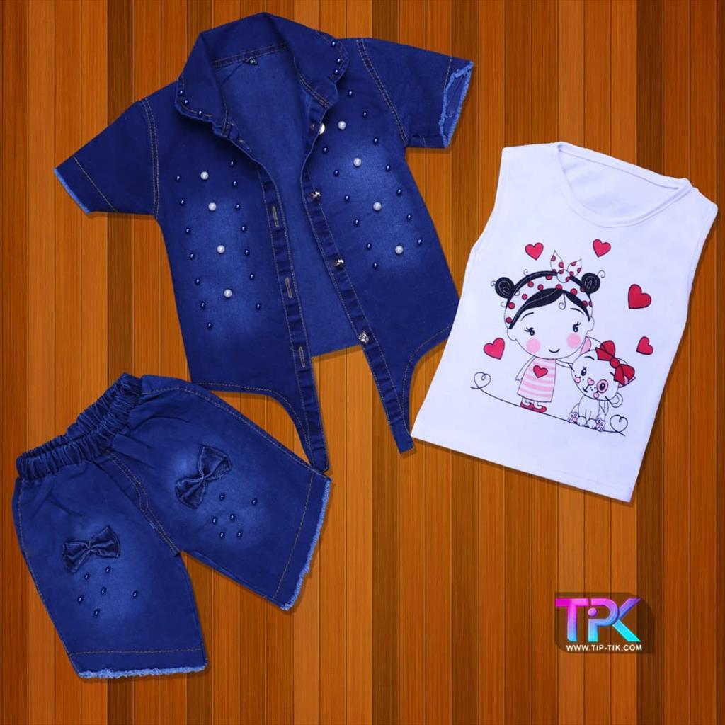 سه تیکه دخترانه پاپیونی<br/>لباس بچگانه<br/>جنس: لی🧵<br/>رنگبندی : (آبی) 🎨<br/>سایز:35-40<br/>کد محصول:112801<br/>✅قیمت یک عدد در یک جین :98000 ✅<br/>✅قیمت یک عدد در نیم جین :  buy-sell personal clothing