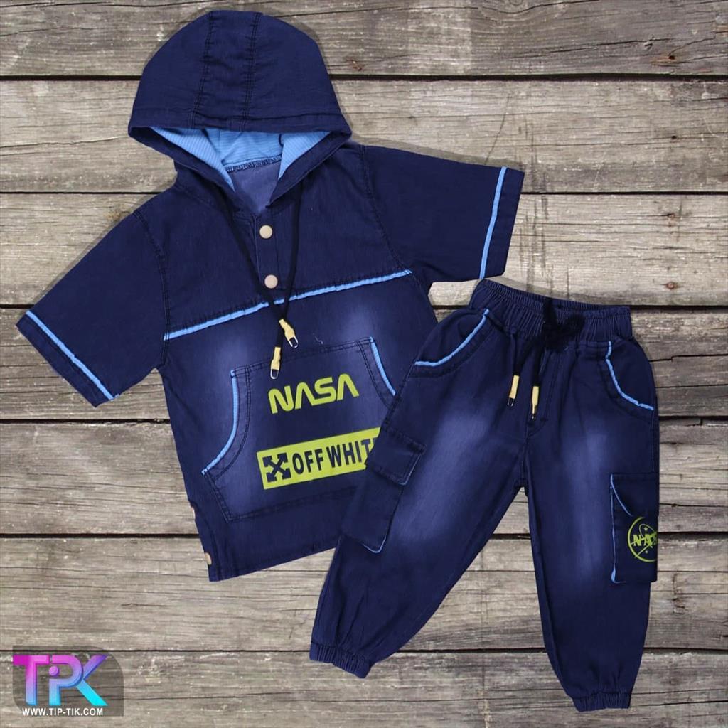 تیشرت شلوارک پسرانه NASA<br/>لباس بچگانه<br/>جنس: لی 🧵<br/>رنگبندی : (ذغال سنگی) 🎨<br/>سایز:55-60-65-70-75-80-85-90<br/>کد محصول: 181019<br/>✅قیمت یک عدد در یک جین :178000  buy-sell personal clothing